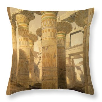 Hall Of Columns, Karnak, From Egypt Throw Pillow by David Roberts