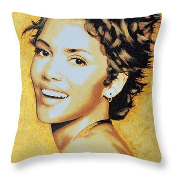 Halle Berry Throw Pillow by Victor Minca