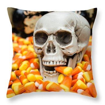 Halloween Candy Corn Throw Pillow by Edward Fielding