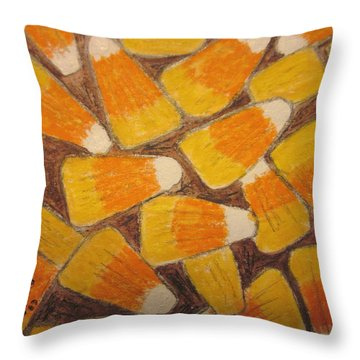 Halloween Candy Corn Throw Pillow by Kathy Marrs Chandler