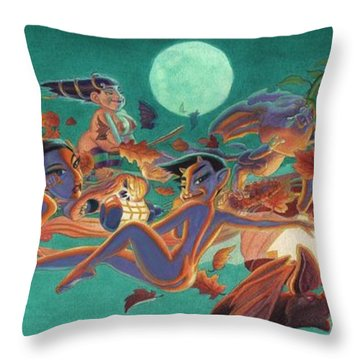 Halloween Frolics Throw Pillow