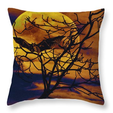 Throw Pillow featuring the painting Halloween Full Moon Terror by David Mckinney