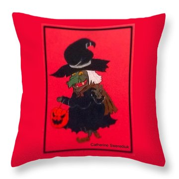 Halloween Fun Throw Pillow by Catherine Swerediuk