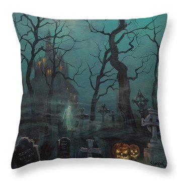 Halloween Ghost Throw Pillow by Tom Shropshire