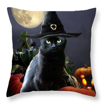 Witchy Black Halloween Cat Throw Pillow