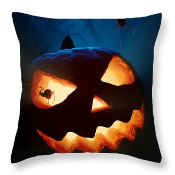 Halloween Pumpkin And Spiders Throw Pillow