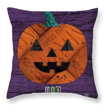 Halloween Pumpkin Holiday Boo License Plate Art Throw Pillow by Design Turnpike