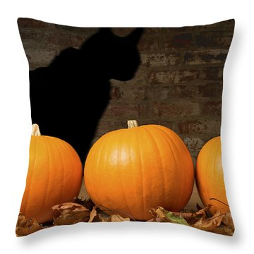 Halloween Pumpkins And The Witches Cat Throw Pillow by Amanda Elwell