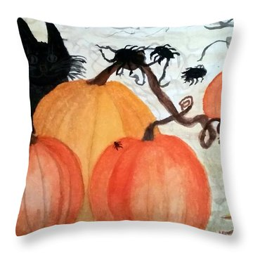 Halloween Scene Throw Pillow