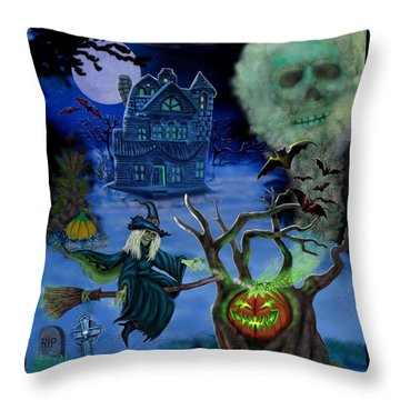 Halloween Witch's Coldron Throw Pillow by Glenn Holbrook