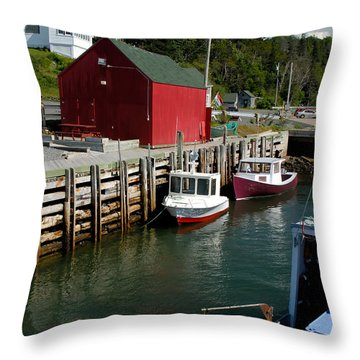 Halls Harbour Fishing Cove Throw Pillow by Norman Pogson