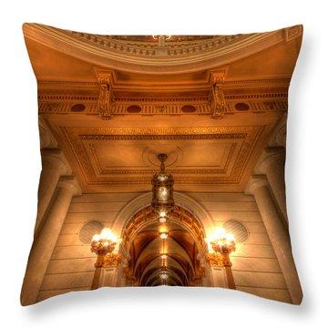 Halls Of Gold Throw Pillow by Lori Deiter