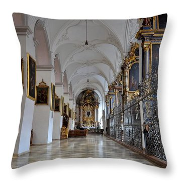 Throw Pillow featuring the photograph Hallway Of A Church Munich Germany by Imran Ahmed