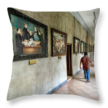 Hallway Of Paintings Throw Pillow