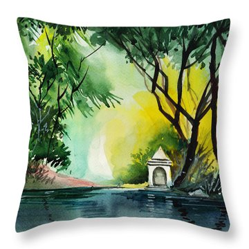 Halo Throw Pillow by Anil Nene