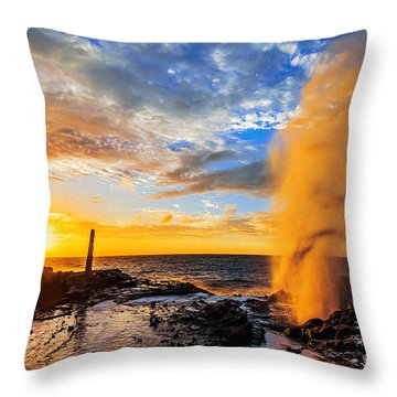 Throw Pillow featuring the photograph Halona Blowhole At Sunrise by Aloha Art