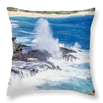 Throw Pillow featuring the photograph Halona Blowhole Huge Geyser by Aloha Art