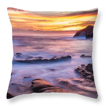 Halona Cove Sunrise 3 Throw Pillow by Leigh Anne Meeks
