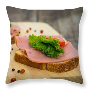 Ham Sandwiches Throw Pillow