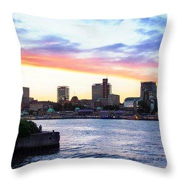 Hamburg Riverside Throw Pillow