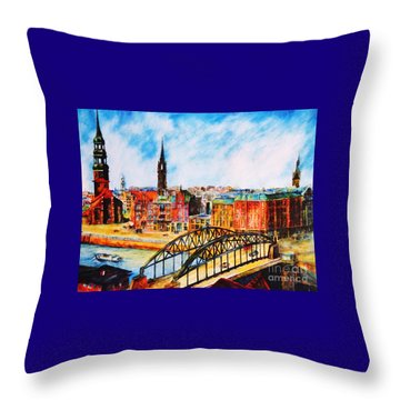 Hamburg - The Beauty At The River Throw Pillow