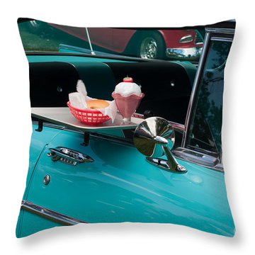 Throw Pillow featuring the photograph Hamburger Drive In Classic Car by Gunter Nezhoda