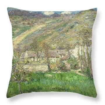Hamlet In The Cliffs Near Giverny Throw Pillow by Claude Monet