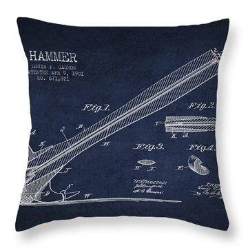 Hammer Patent Drawing From 1901 Throw Pillow by Aged Pixel