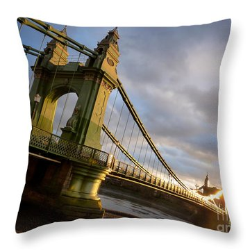 Throw Pillow featuring the photograph Hammersmith Bridge In London by Peta Thames