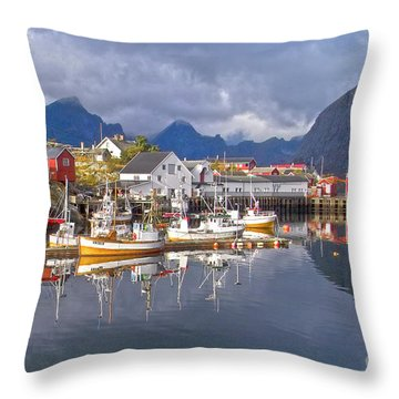Hamnoy Fishing Village On Lofoten Islands Throw Pillow