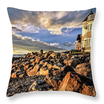 Hampton Beach Sunrise Throw Pillow by Fred Larson