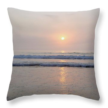 Hampton Beach Waves And Sunrise Throw Pillow by Eunice Miller