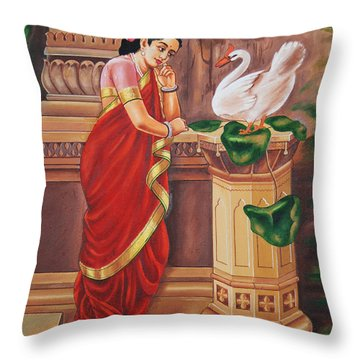 Throw Pillow featuring the painting Hamsa Damayanthi by Ragunath Venkatraman