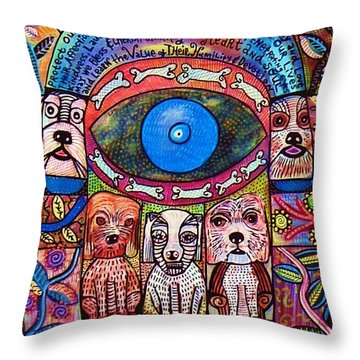 Hamsa Dog Blessing' Throw Pillow