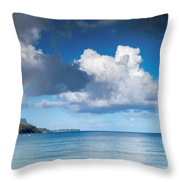 Hanalei Bay And Rainbow Throw Pillow by Roger Mullenhour