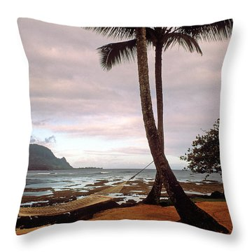 Hanalei Bay Hammock At Dawn Throw Pillow by Kathy Yates
