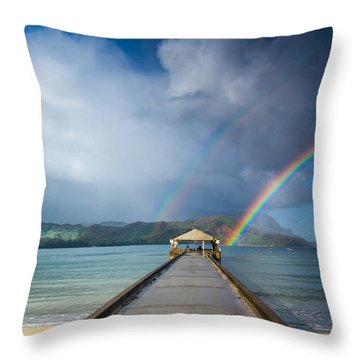 Hanalei Bay Pier And Double Rainbow Throw Pillow by Roger Mullenhour