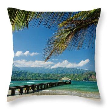 Hanalei Pier And Beach Throw Pillow