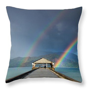 Hanalei Pier And Double Rainbow Throw Pillow by Roger Mullenhour