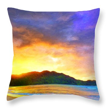 Hanalei Sunset Throw Pillow by Dominic Piperata