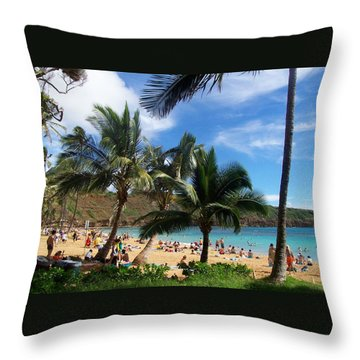 Hanauma Bay Beach Throw Pillow