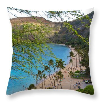 Hanauma Bay Nature Preserve Beach Through Monkeypod Tree Throw Pillow by Michele Myers