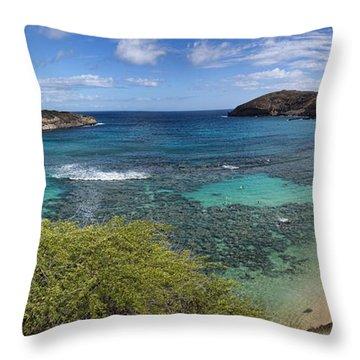 Hanauma Bay Panorama Throw Pillow by David Smith