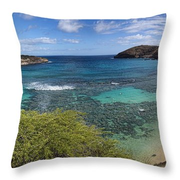 Hanauma Bay Panorama Throw Pillow