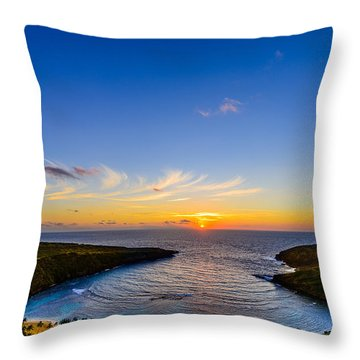 Hanauma Bay Sunrise Throw Pillow