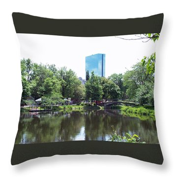 Hancock Building From Lagoon Throw Pillow by Barbara McDevitt