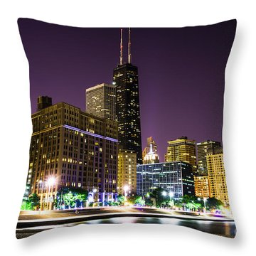 Hancock Building With Dusk Chicago Skyline Throw Pillow by Paul Velgos