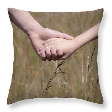 Hand In Hand Throw Pillow by Joana Kruse