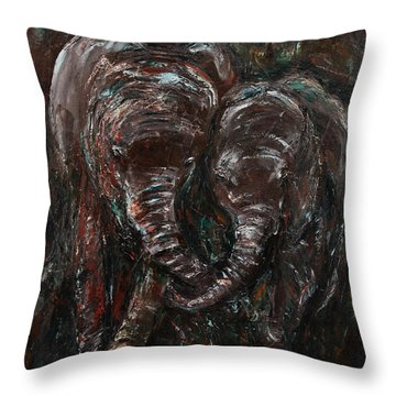 Throw Pillow featuring the painting Hand In Hand by Xueling Zou