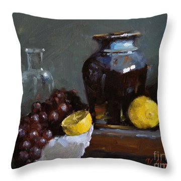 Hand-made Pottery With Fruits Throw Pillow